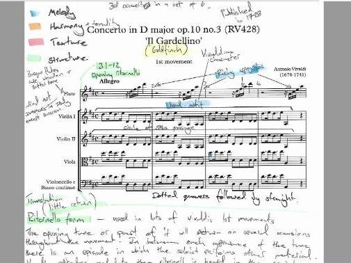 Vivaldi Concerto in D Major op.10 no.3 - Annotated