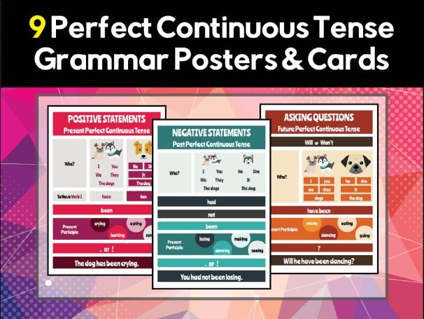 9 Perfect Continuous / Perfect Progressive Grammar Posters & Flash Cards