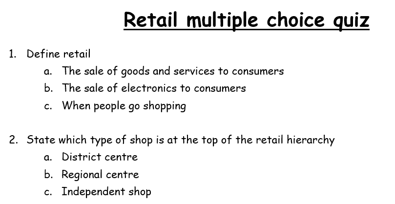 Eduqas Geography B Retail: multiple choice quiz