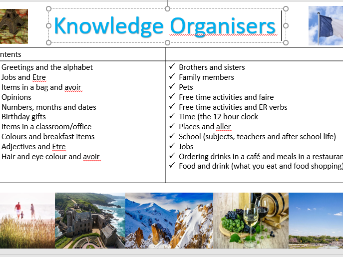 French knowledge organisers for KS3 especially Y7