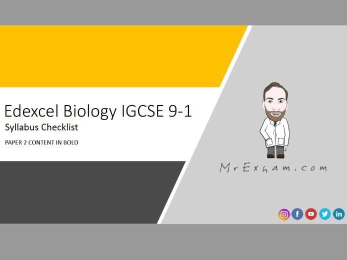 Edexcel IGCSE Biology 9-1 Syllabus Checklist
