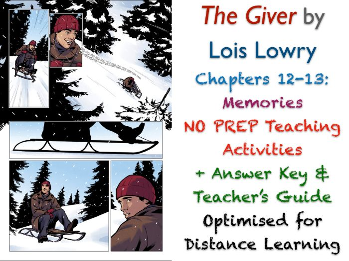 The Giver (Lois Lowry) - Chapters 12-13 - Memories - ACTIVITIES + ANSWERS