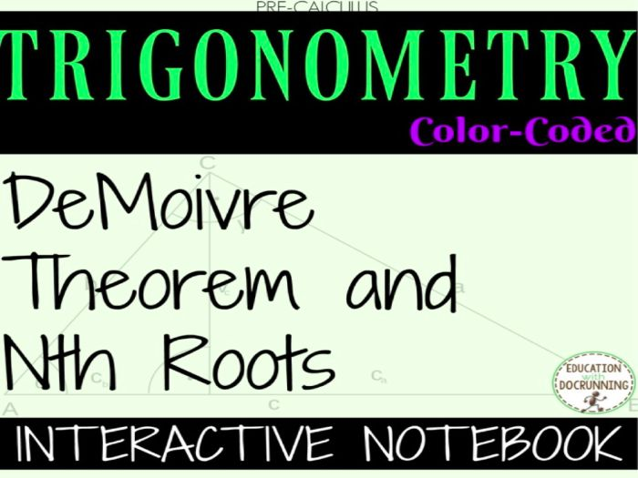 DeMoivre and nth roots theorem Color-Coded Interactive Notebook for PreCalculus or Trigonometry