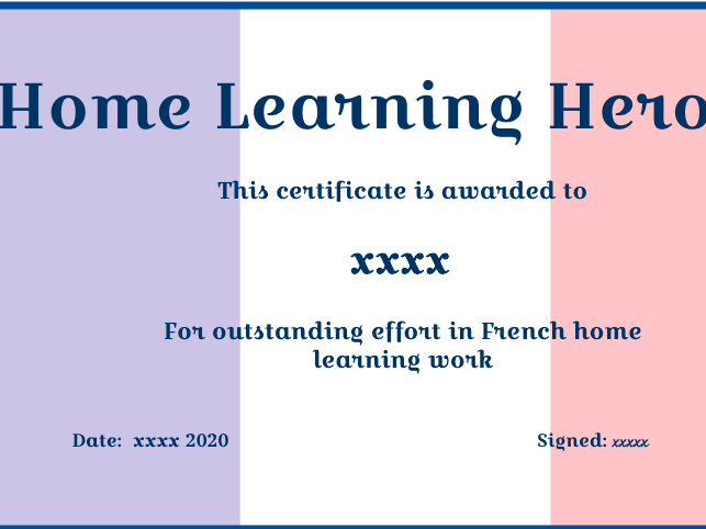 MFL Home Learning eCertificates