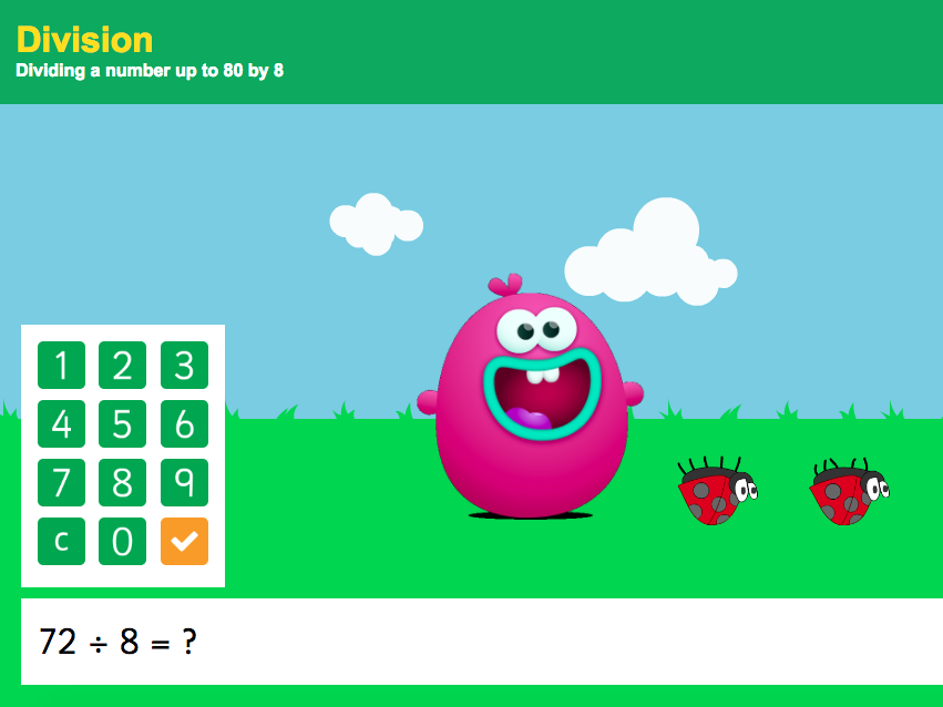 8 Times Tables - Dividing a number up to 80 by 8 Interactive Game - KS2 Number