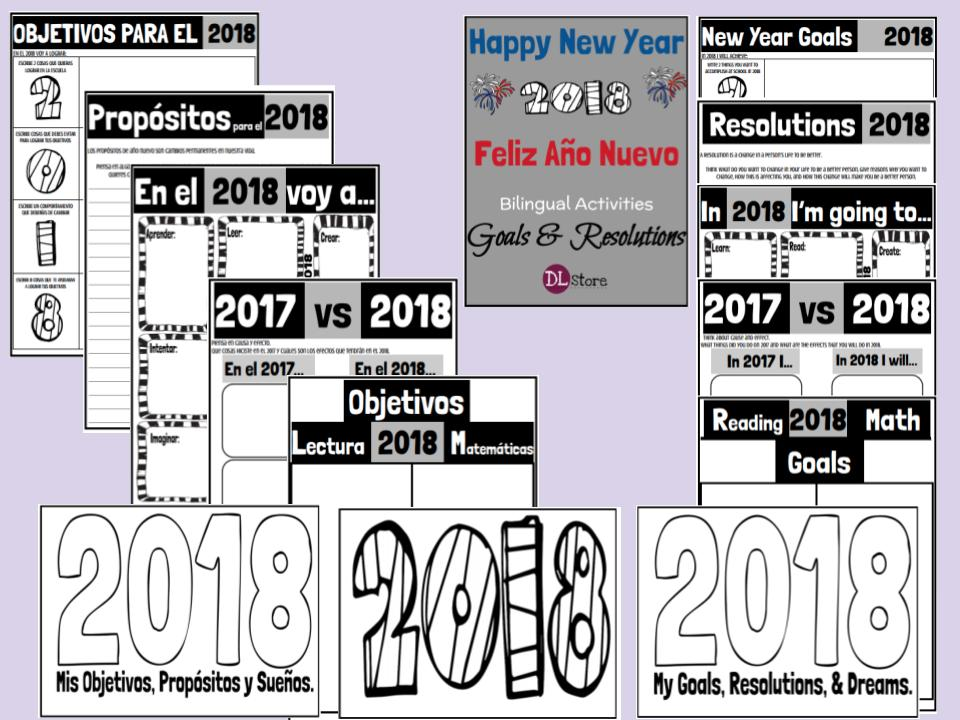 New Year's Goals & Resolutions - Bilingual Activities - Yearly Update
