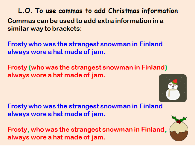 English Lesson on Using Commas to add Christmas Information (KS2 Grammar Work)