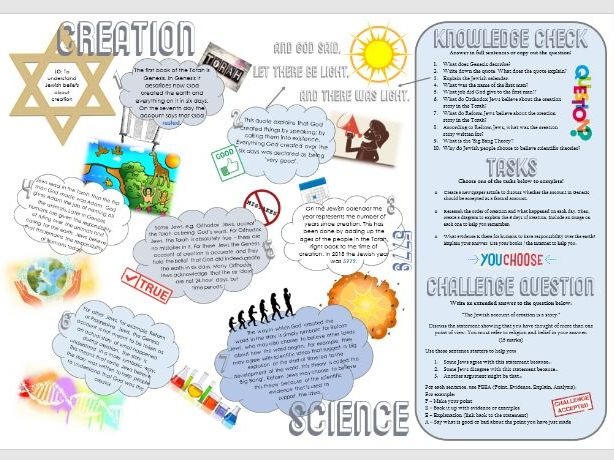 Judaism: Jewish Creation Story and Science Task Mat