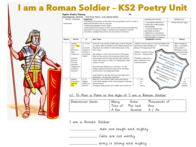 Roman Poetry Unit - I am a Roman Soldier  KS2