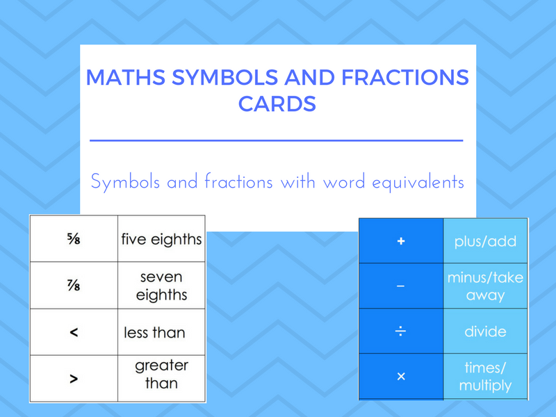 Maths Symbols, Fractions and Word Equivalent Cards (ESOL/ESL/EAL/EFL/Literacy/SLD/Numeracy)