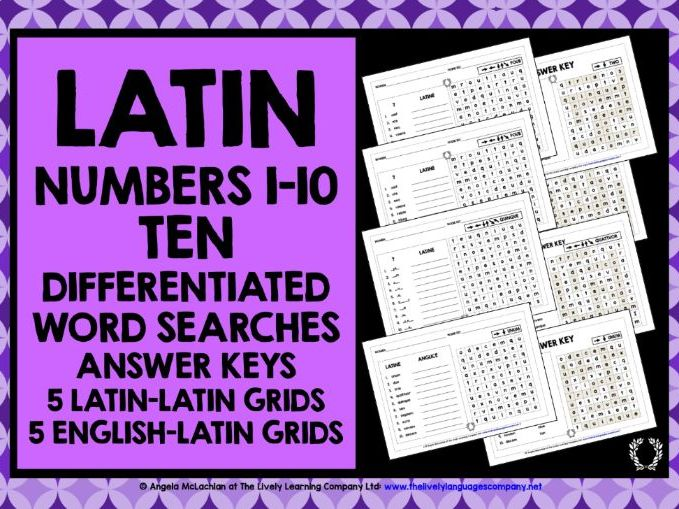 PRIMARY LATIN NUMBERS 1-10 WORD SEARCHES