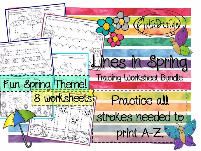 Tracing Activity - Lines in Spring Pre-Writing Worksheet Bundle