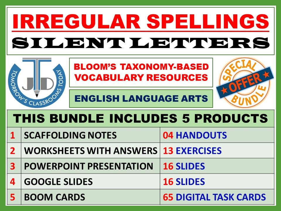 IRREGULAR SPELLINGS AND SILENT LETTERS: SPELLING RESOURCES - BUNDLE