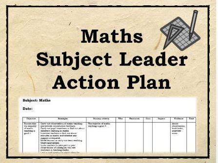 Maths Action Plan : 100 Strategies - subject leader, coordinator, improving maths
