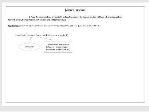 Macbeth revision mind maps (Excellent homework task)