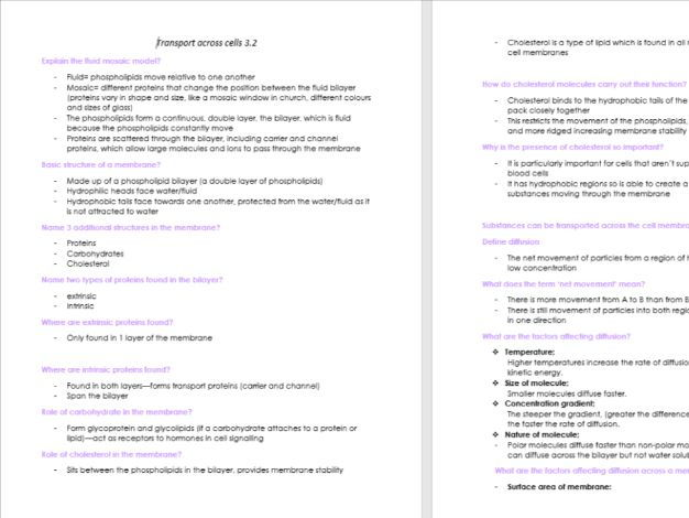 AQA AS level whole set of notes