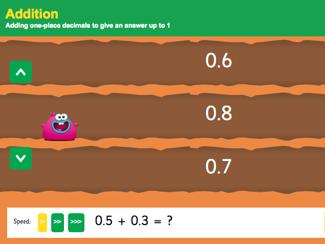 Addition with Decimals: Tenths - Interactive Game 1 - KS2 Number