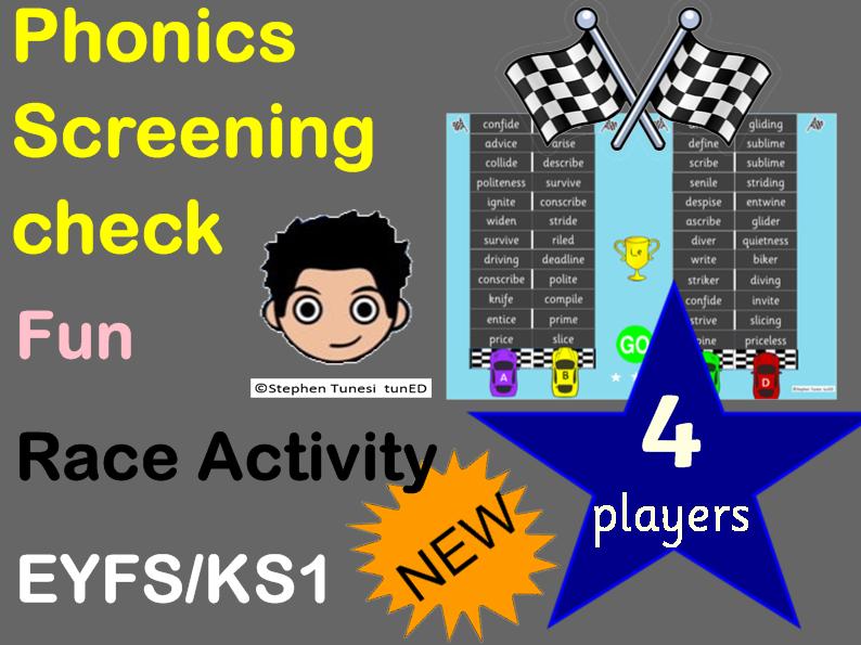 Phonics screening check Fun racing game nonsense words  Year 1 Australian 4 players and 2