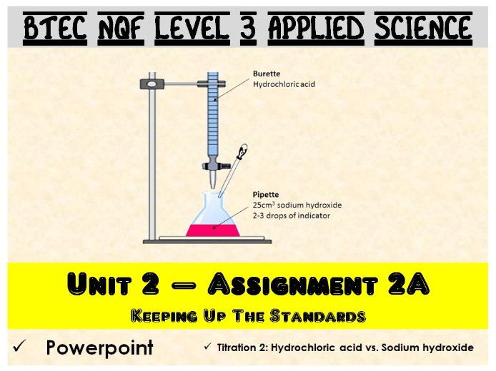 BTEC NQF L3 Applied Science: Unit 2: Assignment A: Titration 2 powerpoint