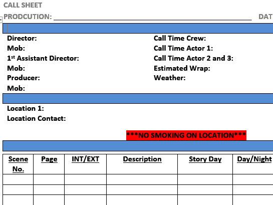 Call Sheet Template (Film & TV/Media Students)
