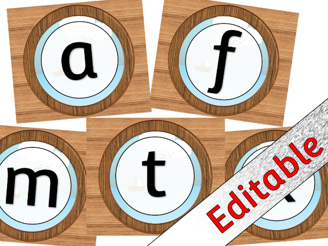 Porthole Alphabet Posters/Flashcards/Display - Editable