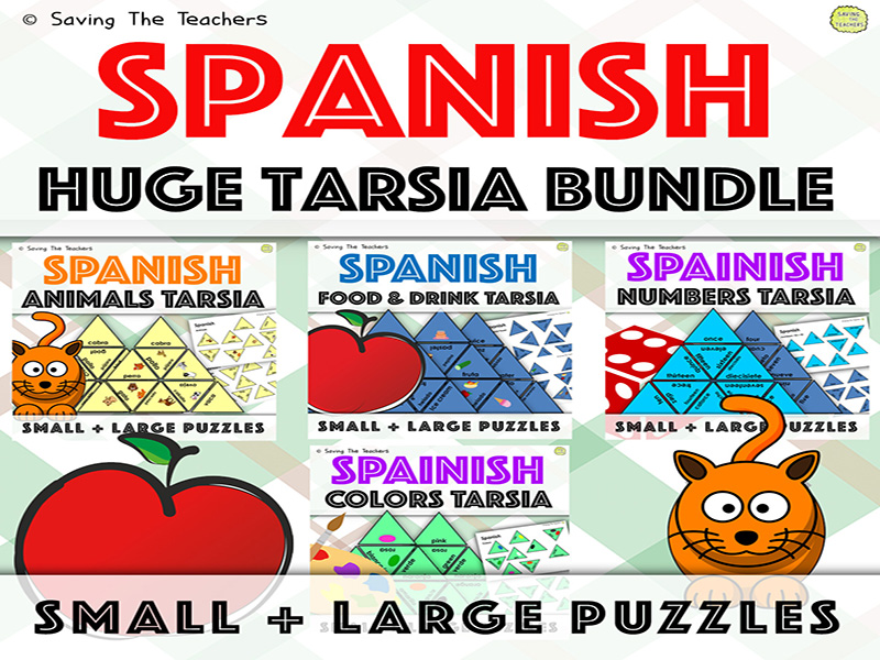 Spanish Language Skills Tarsia Puzzles Bundle