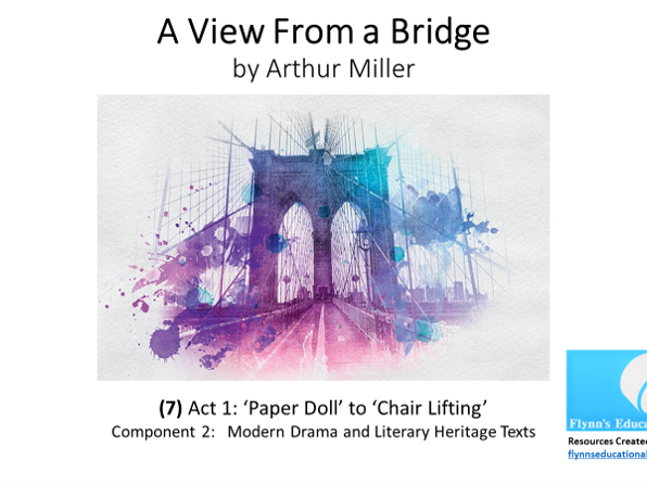 GCSE Literature: (7) 'A View from a Bridge' – Act 1 (7 of 7) 'Paper Doll' to 'Chair Lifting'