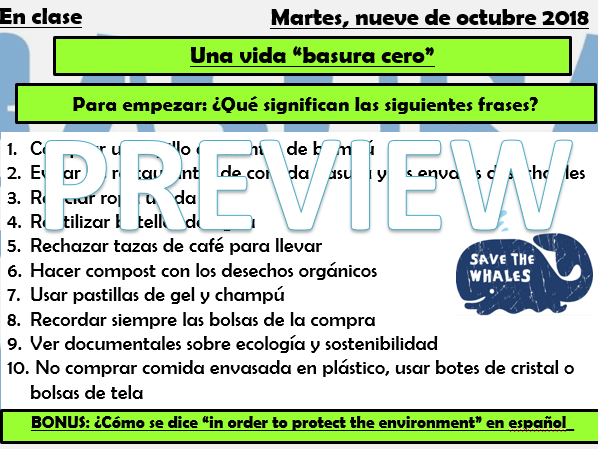 GCSE Spanish Environment - Zero Waste Lesson