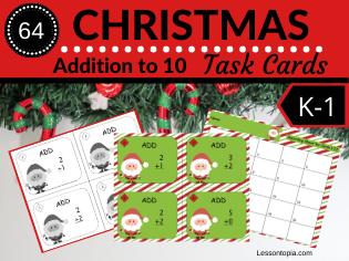 Christmas Math Task Cards-Addition to 10