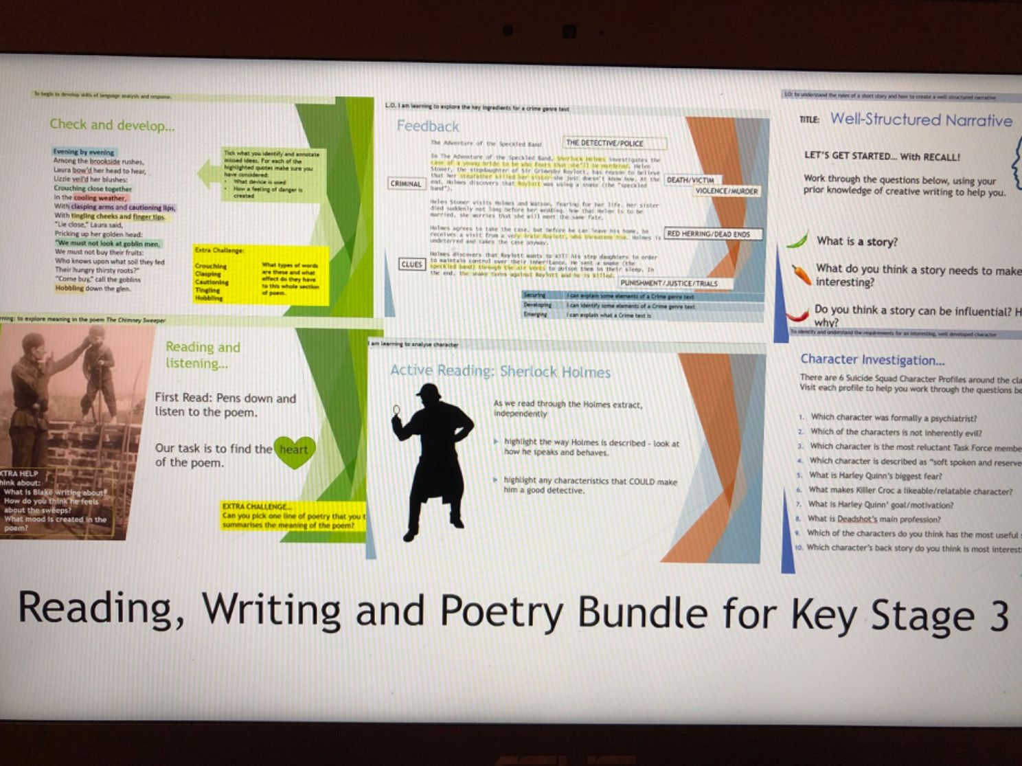 Reading, Writing and Poetry bundle for KS3
