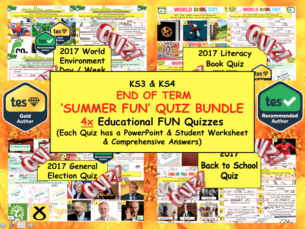 2017 Set of 4x Summer Term Whole School Quizzes  (PSHE/CITIZENSHIP) Fun Quiz Quizzes  - Literacy World Book Day - Environment  - Election  etc...