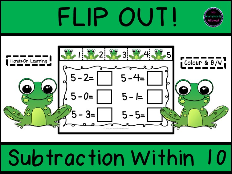 Subtraction Within 10 Number Line Tabs Activity