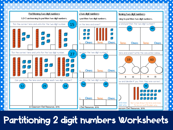 Year 2 Maths: Partitioning 2 digit numbers (differentiated worksheets)