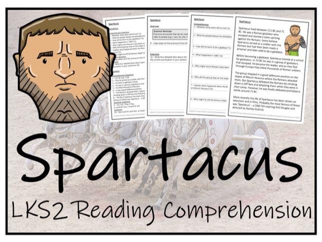 LKS2 Ancient Rome - Spartacus Reading Comprehension Activity