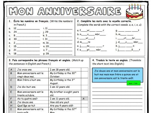 French worksheet bundle - all about me