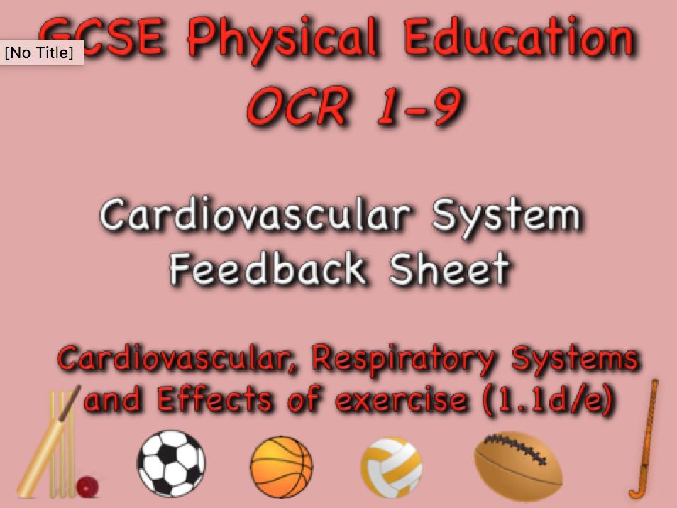 GCSE OCR PE (1.1d/e)  The heart feedback sheet