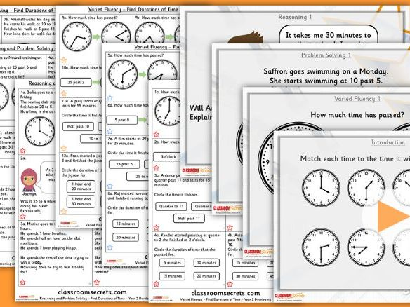 Year 2 Find Durations of Time Summer Block 3 Lesson Pack