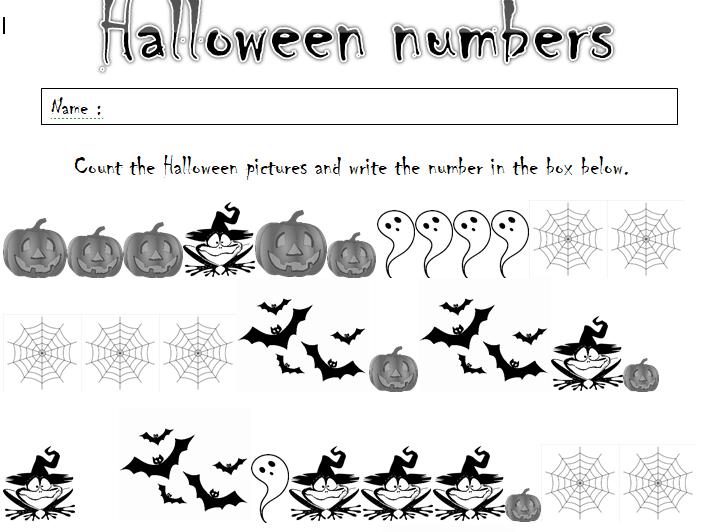 YR/KS1 Set of 5 fun Halloween counting worksheets.