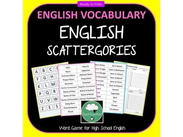 Scattergories HIGH SCHOOL ENGLISH Vocabulary Game ELA