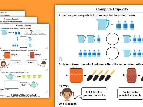 Year 1 Compare Capacity Spring Block 4 Maths Homework Extension