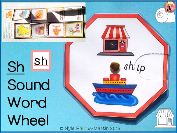 Phonics SH Sound Word Wheel and foldable worksheet