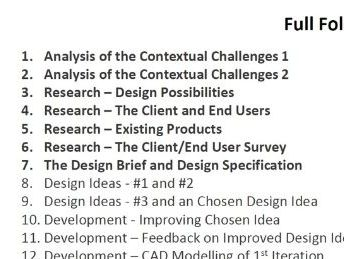 D&T New Specification NEA - Analysis of Context & Research