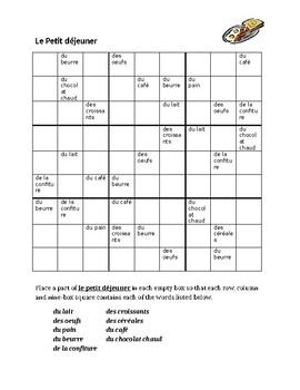 Petit dejeuner (Breakfast in French) Sudoku