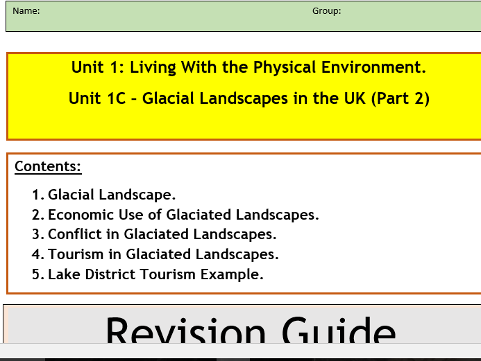 GCSE AQA 9-1 : Flipped Learning Physical Landscapes  Revision Guide Companions.