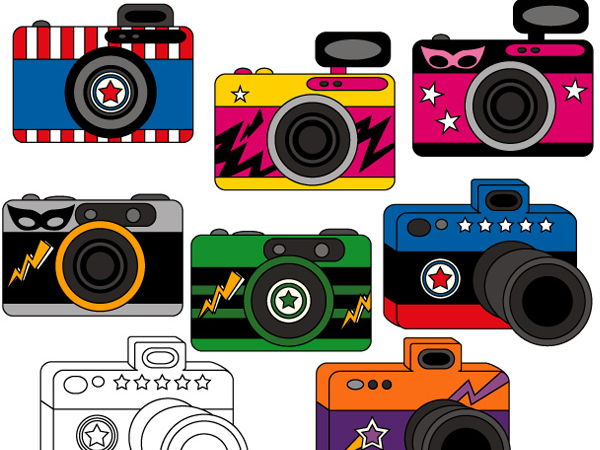 Superhero camera clip art collection (photography clipart)