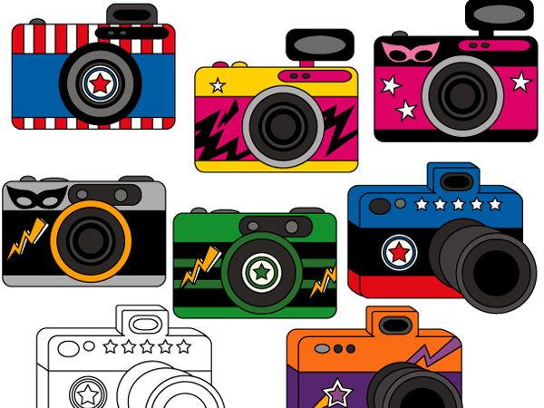 Superhero camera clip art collection (photography clipart)