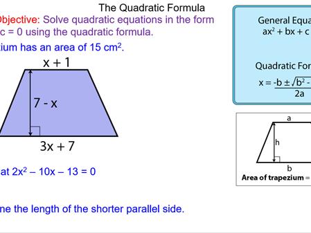 Using the Quadratic Formula to Solve Equations