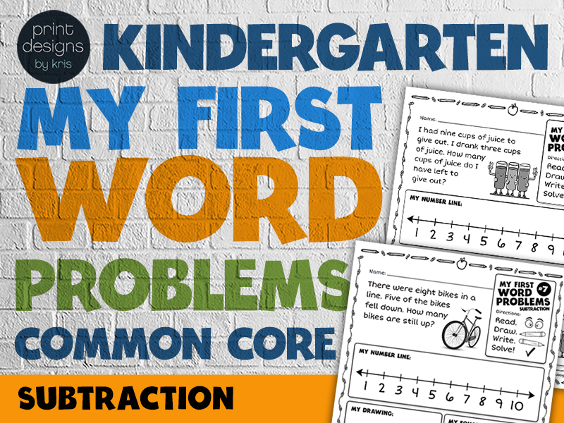 Kindergarten Word Problems Common Core • My First Word Problems • Subtraction