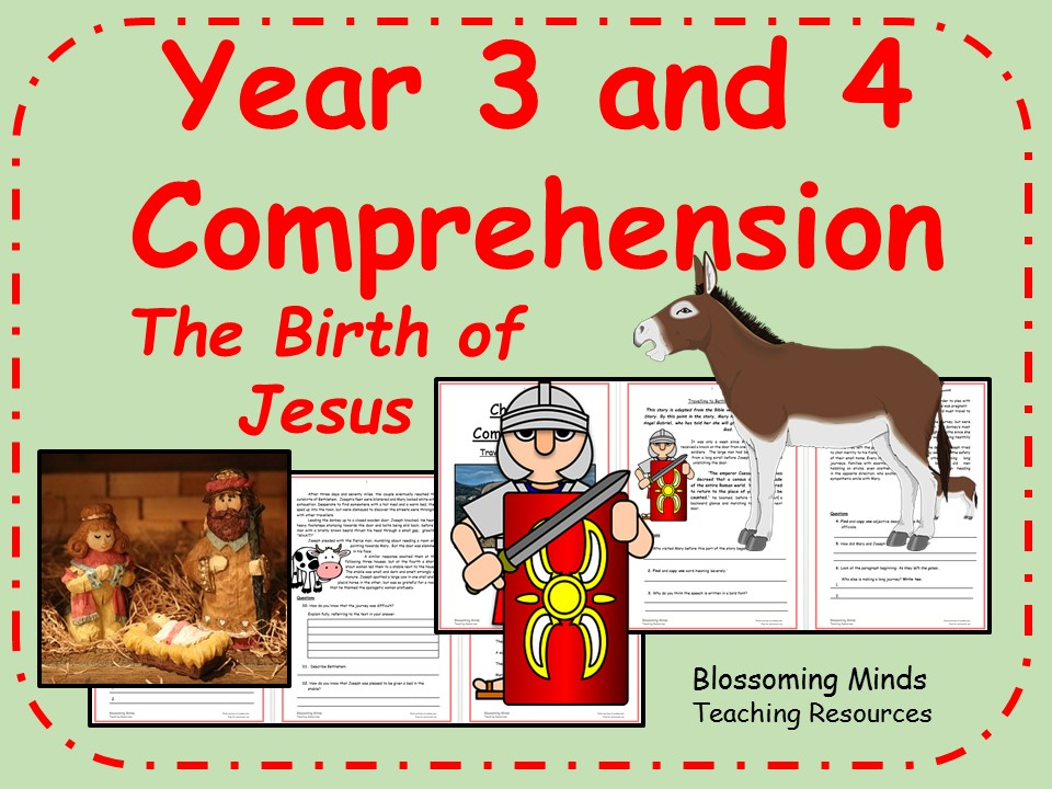 Year 3 and 4 Christmas comprehension - The birth of Jesus