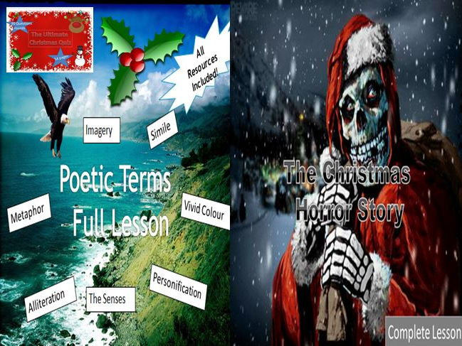Poetic Terms + Christmas Horror Story with a Christmas Quiz